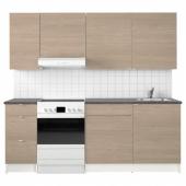 КНОКСХУЛЬТ Кухня, под дерево серый, 220x61x220 см