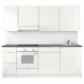 КНОКСХУЛЬТ Кухня, глянцевый, белый, 220x61x220 см